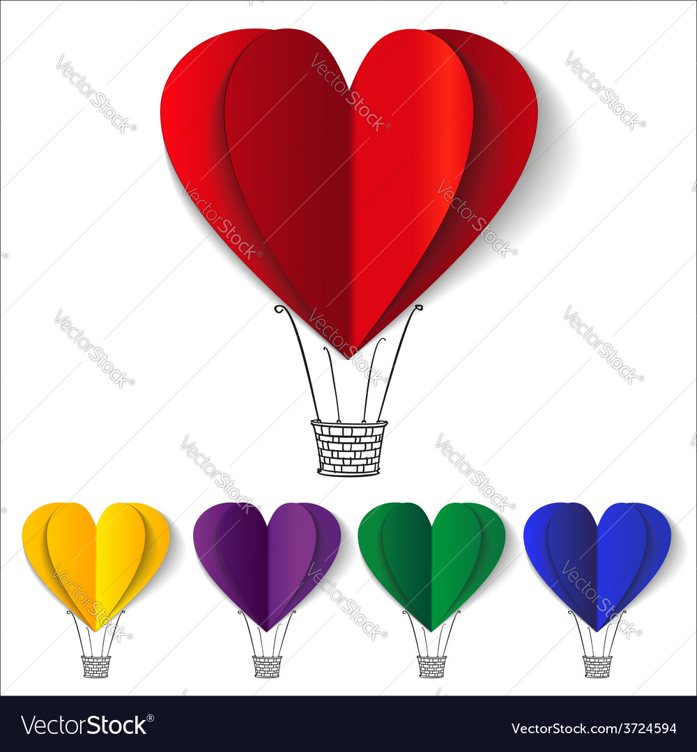 Heart-shaped hot air balloons background vector | Price: 1 Credit (USD $1)