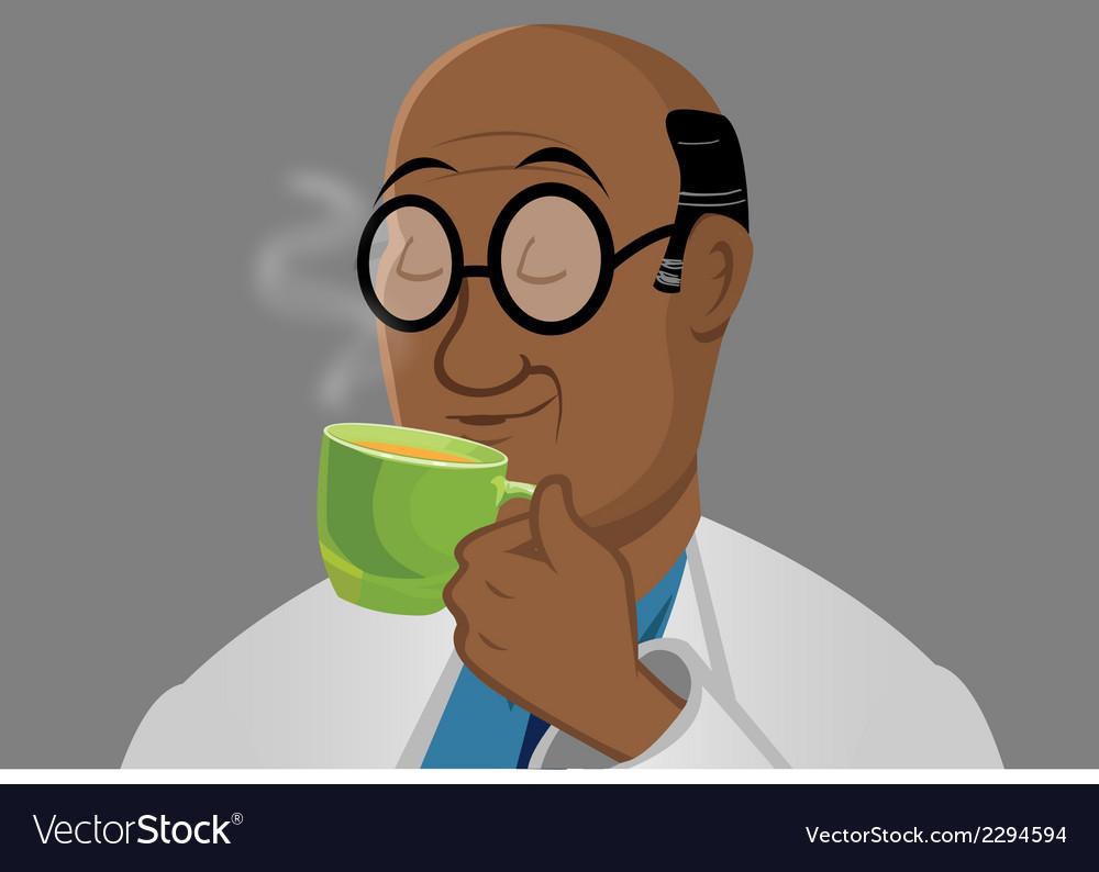 Man drinking tea vector | Price: 1 Credit (USD $1)