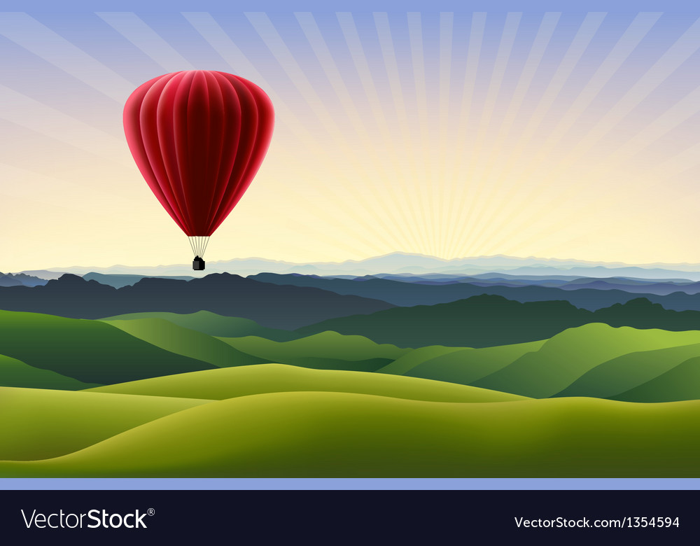 Mountain landscape with red air balloon vector | Price: 1 Credit (USD $1)