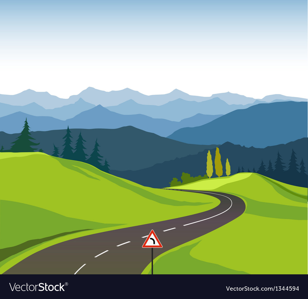 Road and landscape vector | Price: 1 Credit (USD $1)