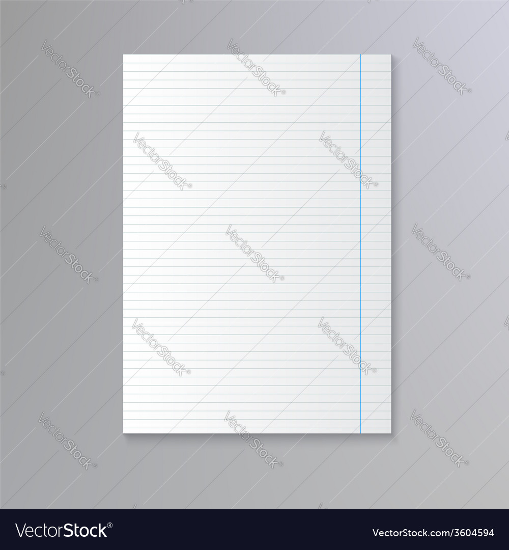 Sheet of lined paper vector | Price: 1 Credit (USD $1)