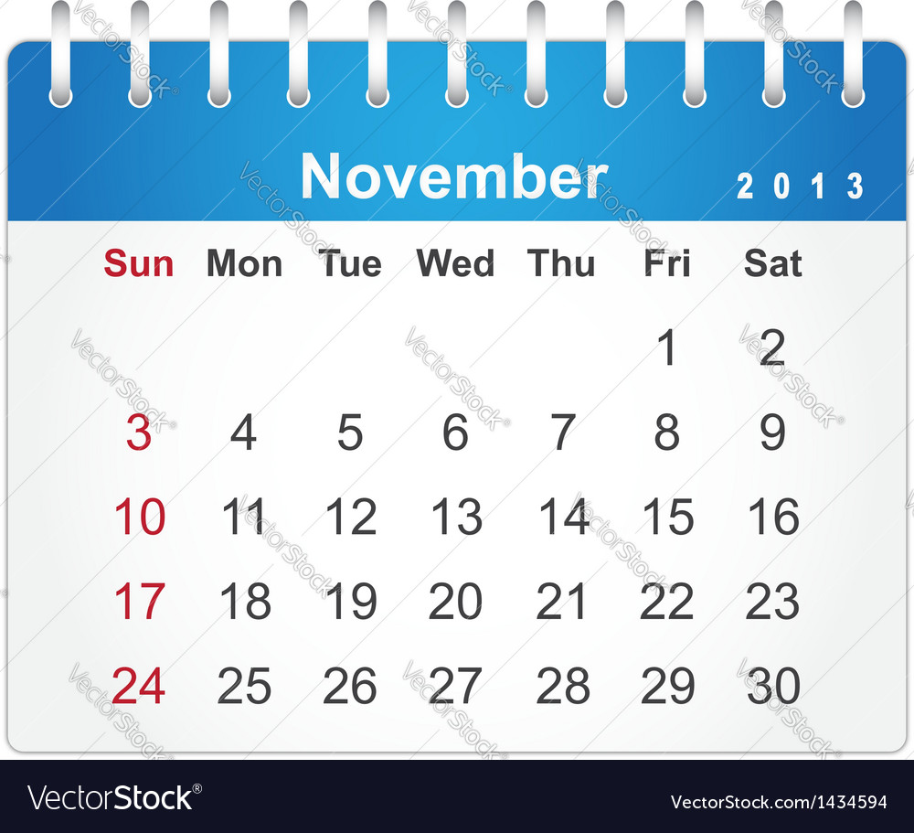 Stylish calendar page for november 2013 vector | Price: 1 Credit (USD $1)