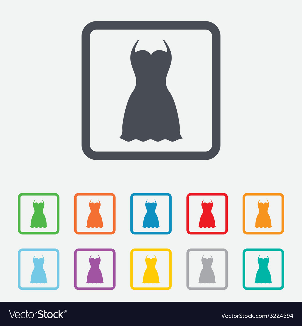 Woman dress sign icon elegant clothes symbol vector | Price: 1 Credit (USD $1)