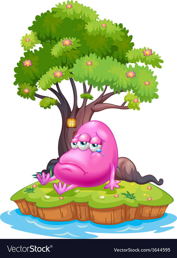 A pink monster crying in the island vector | Price: 3 Credit (USD $3)