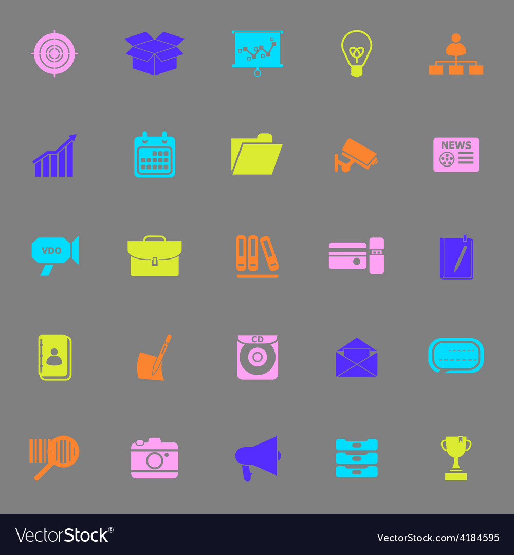 Data and information color icons on gray vector | Price: 1 Credit (USD $1)