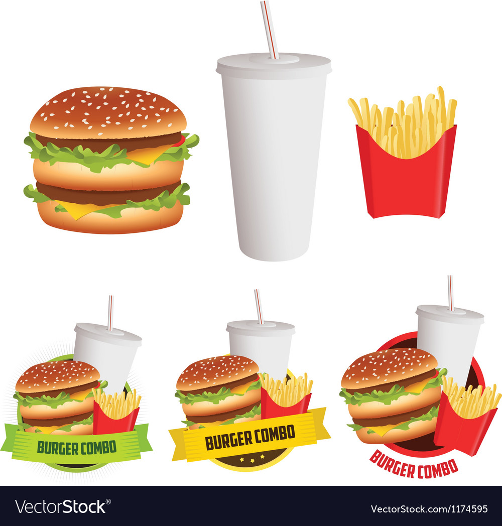 Fast food burger fries and drink vector | Price: 1 Credit (USD $1)