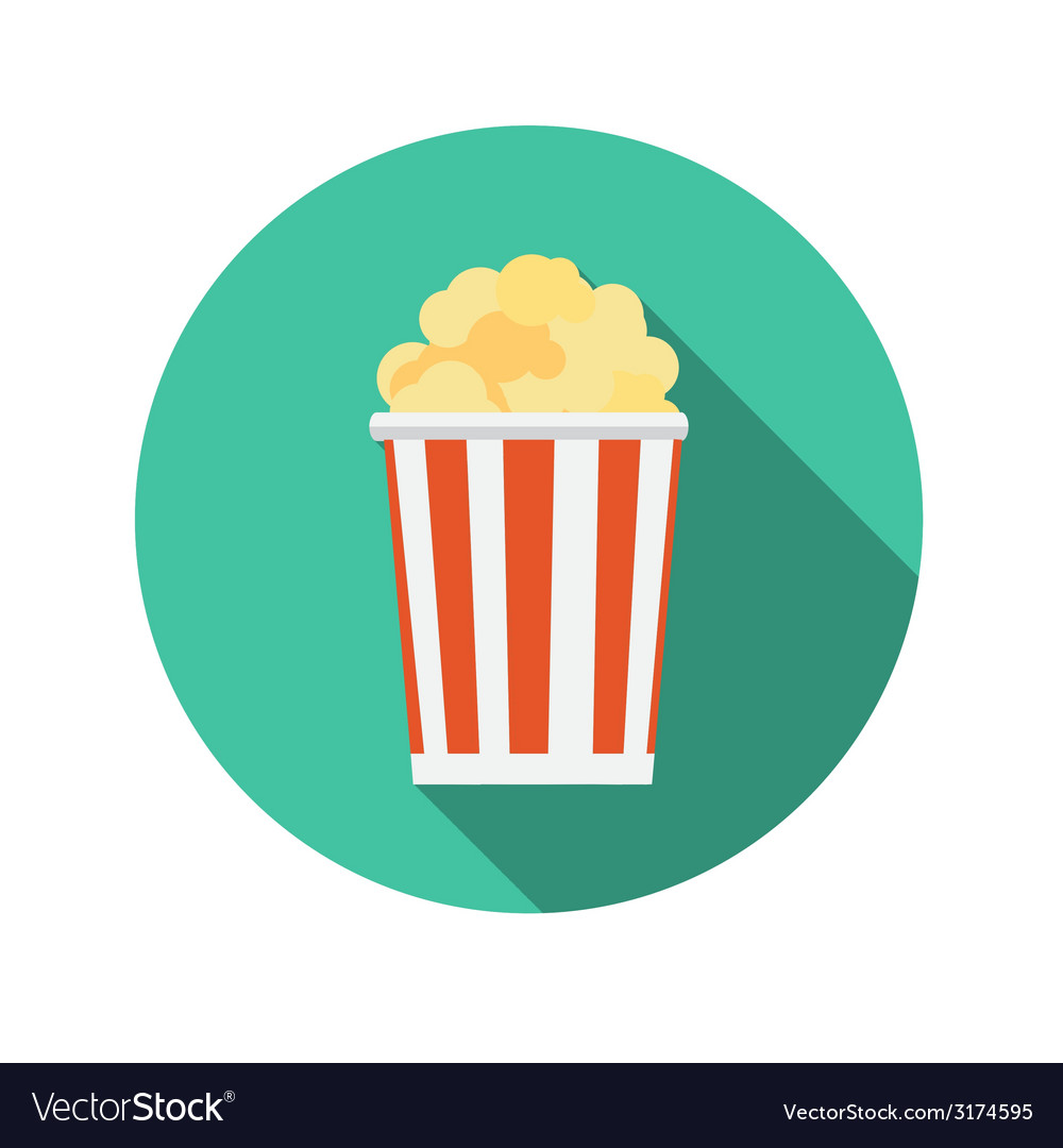 Flat design concept popcorn icon with long s vector | Price: 1 Credit (USD $1)