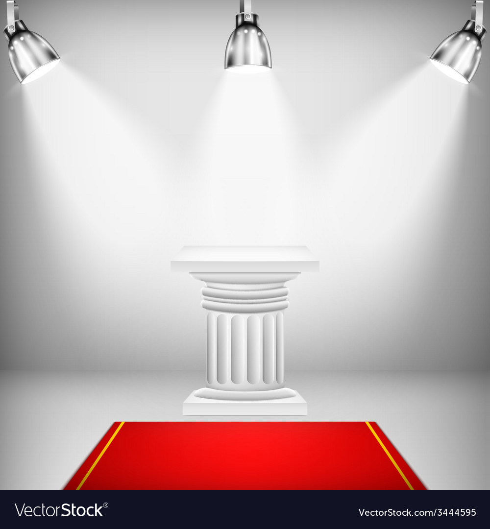 Illuminated ionic column with red carpet vector | Price: 1 Credit (USD $1)
