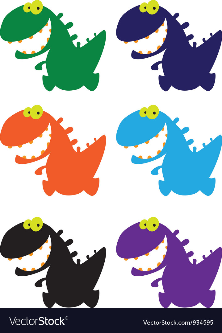 Little smile dino color vector | Price: 1 Credit (USD $1)
