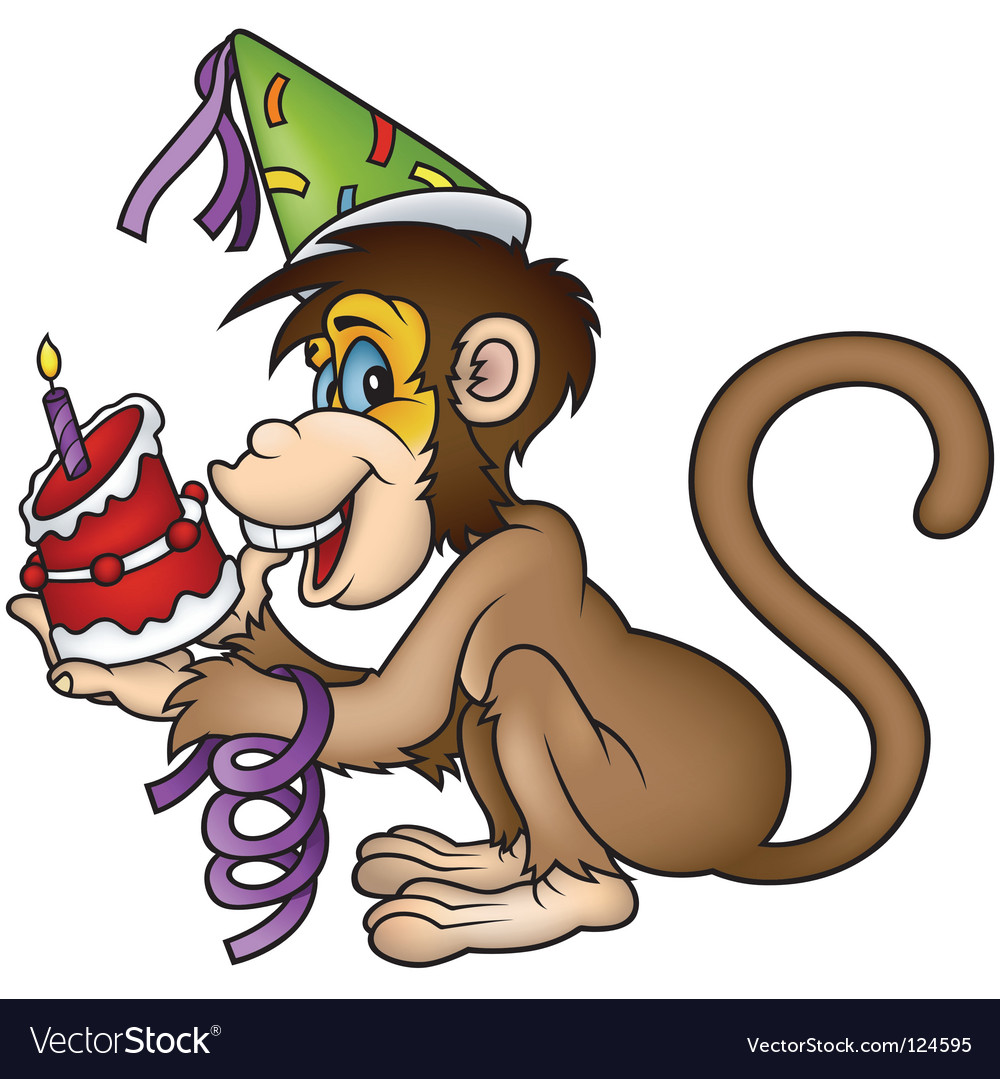 Monkey happy birthday vector | Price: 1 Credit (USD $1)