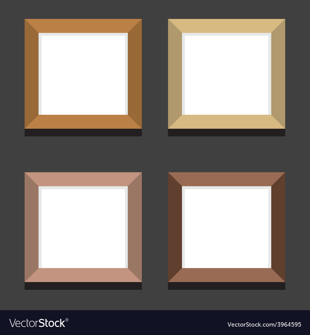 Set of empty square picture frames on black vector | Price: 1 Credit (USD $1)