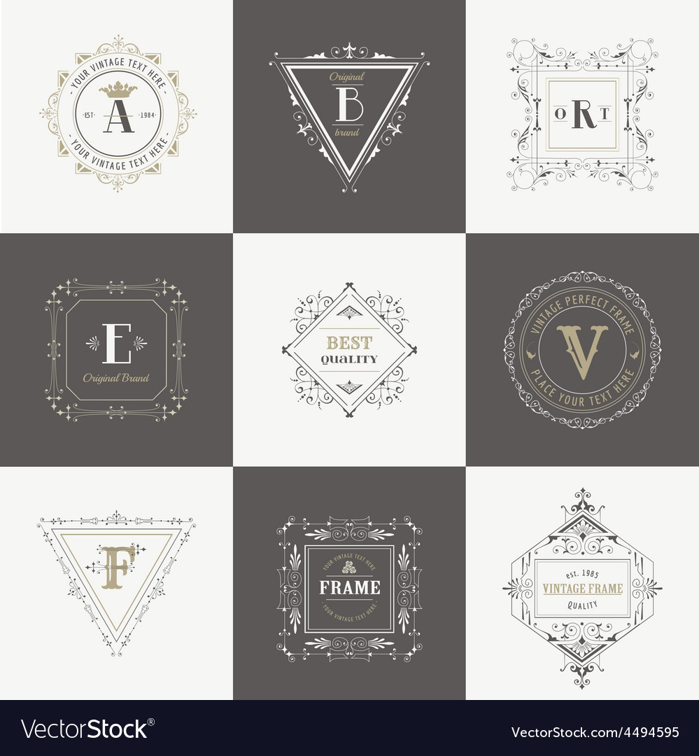 Set vintage frames and banners vector | Price: 1 Credit (USD $1)