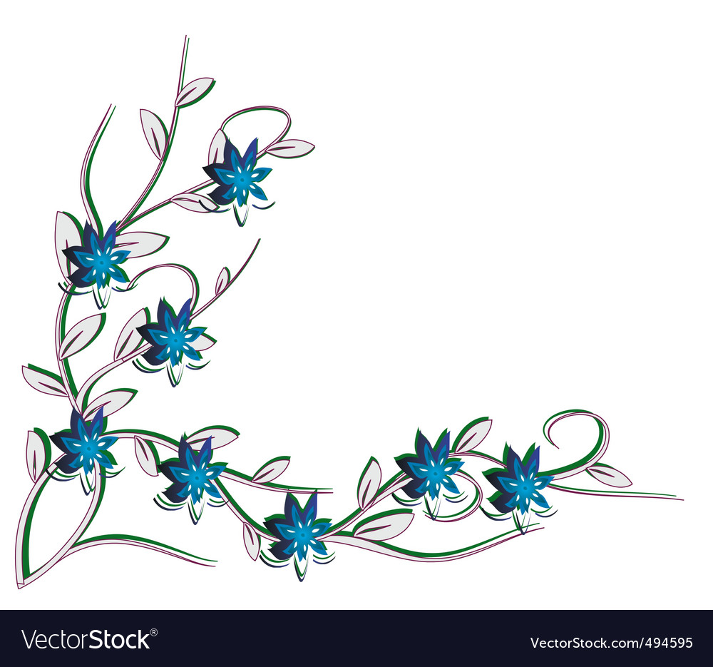 White background with blue flowers vector | Price: 1 Credit (USD $1)