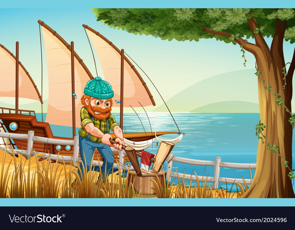 A hardworking man chopping woods at the riverbank vector | Price: 3 Credit (USD $3)