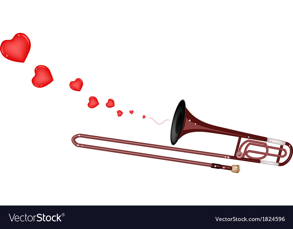 A symphonic trombone blowing a lovely heart vector | Price: 1 Credit (USD $1)