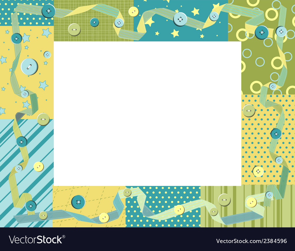 Baby frame or card with ribbon and buttons vector | Price: 1 Credit (USD $1)
