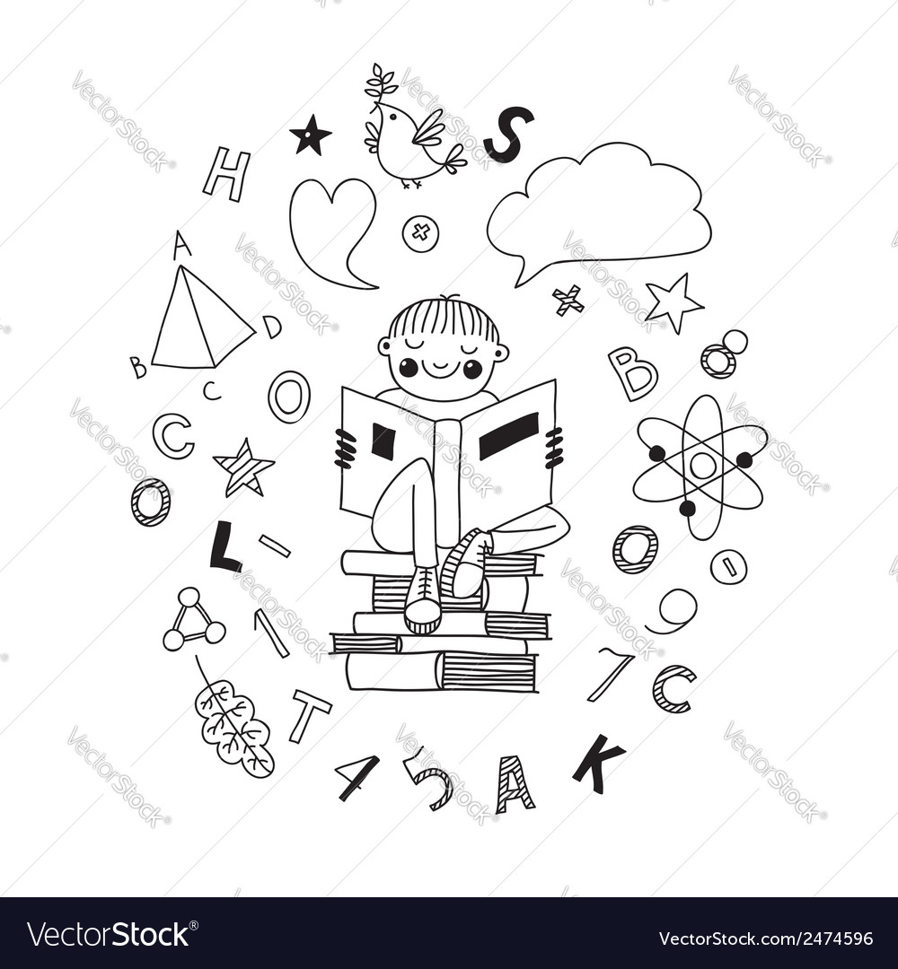 Boy reading a book vector | Price: 1 Credit (USD $1)