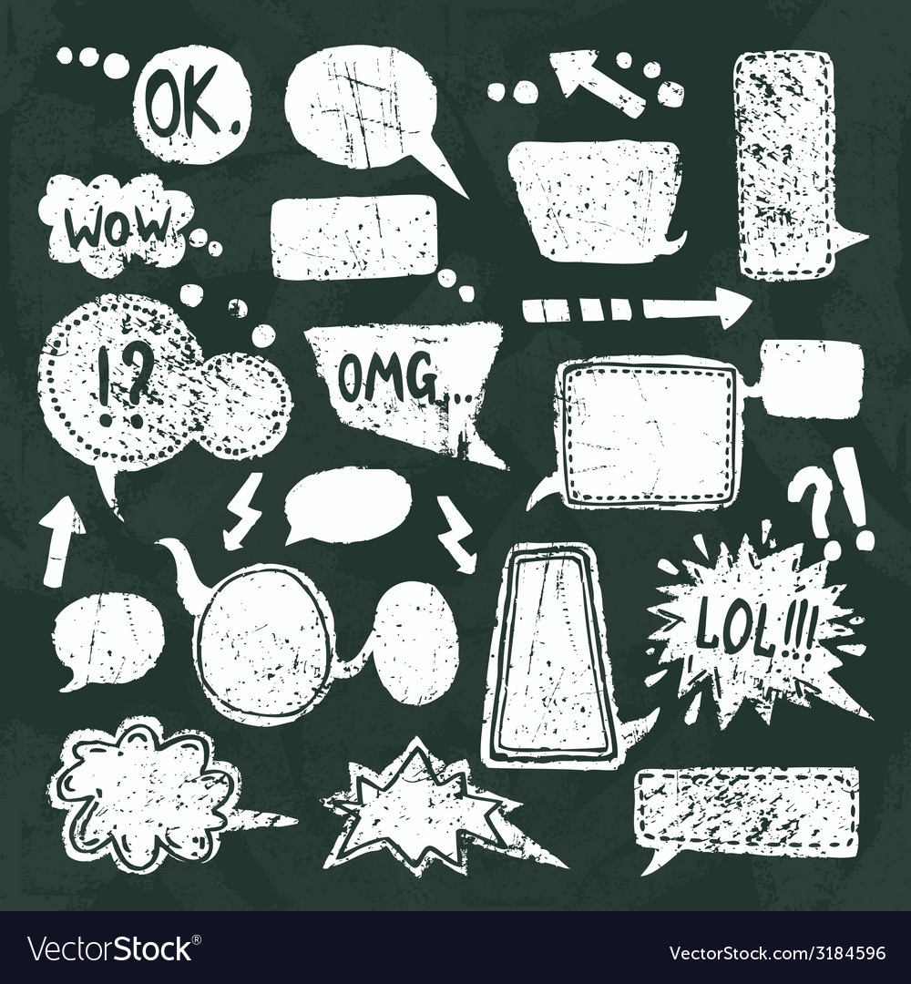 Bubble speech icons set chalkboard vector | Price: 1 Credit (USD $1)