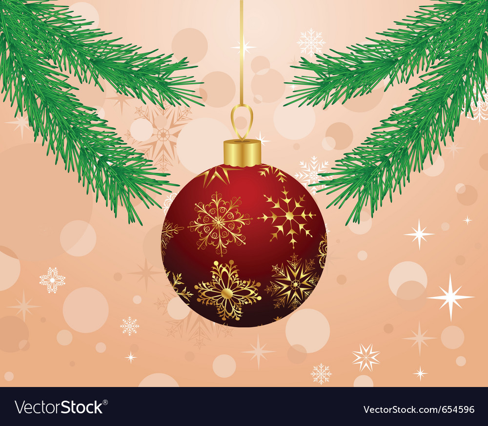 Christmas background with branch and ball - vector | Price: 1 Credit (USD $1)