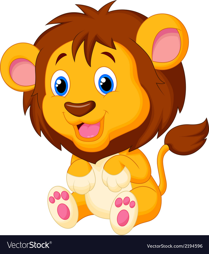 Cute young lion cartoon vector | Price: 1 Credit (USD $1)