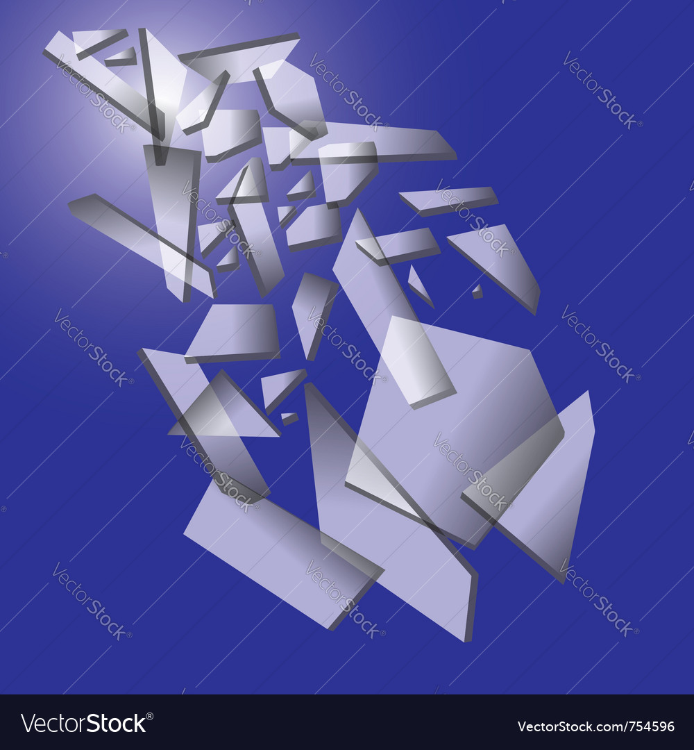 Falling pieces of broken glass on blue background vector | Price: 1 Credit (USD $1)