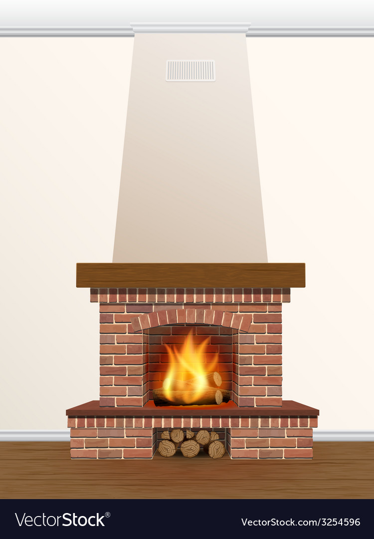 Fireplace with burning fire vector | Price: 1 Credit (USD $1)