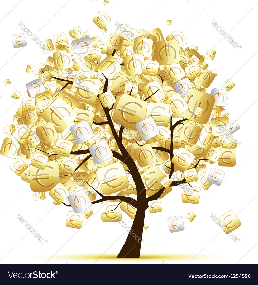 Money tree concept with euro signs for your design vector | Price: 1 Credit (USD $1)