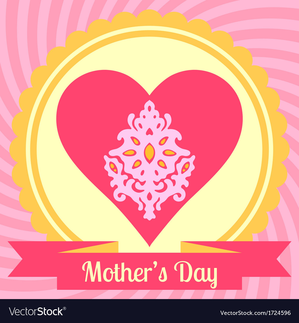Mothers day card with heart vector | Price: 1 Credit (USD $1)