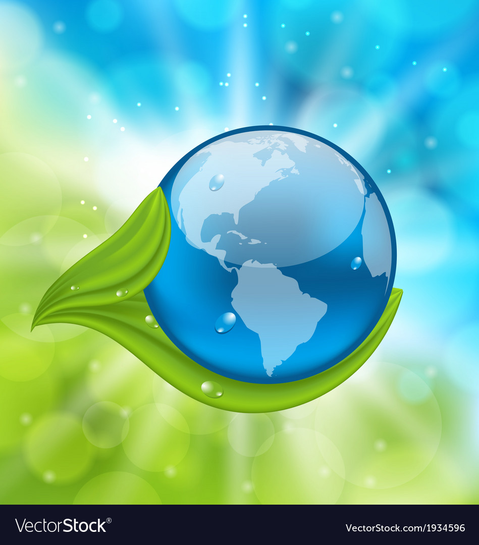 Planet earth with green leaves vector | Price: 1 Credit (USD $1)