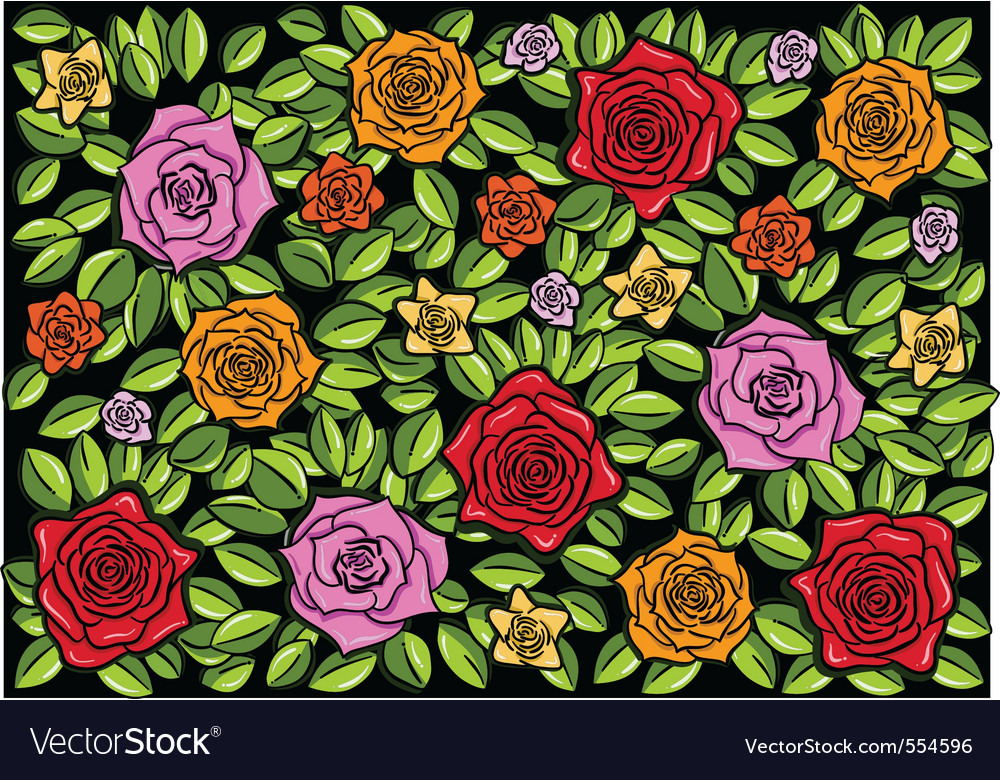 Roses black background vector | Price: 1 Credit (USD $1)