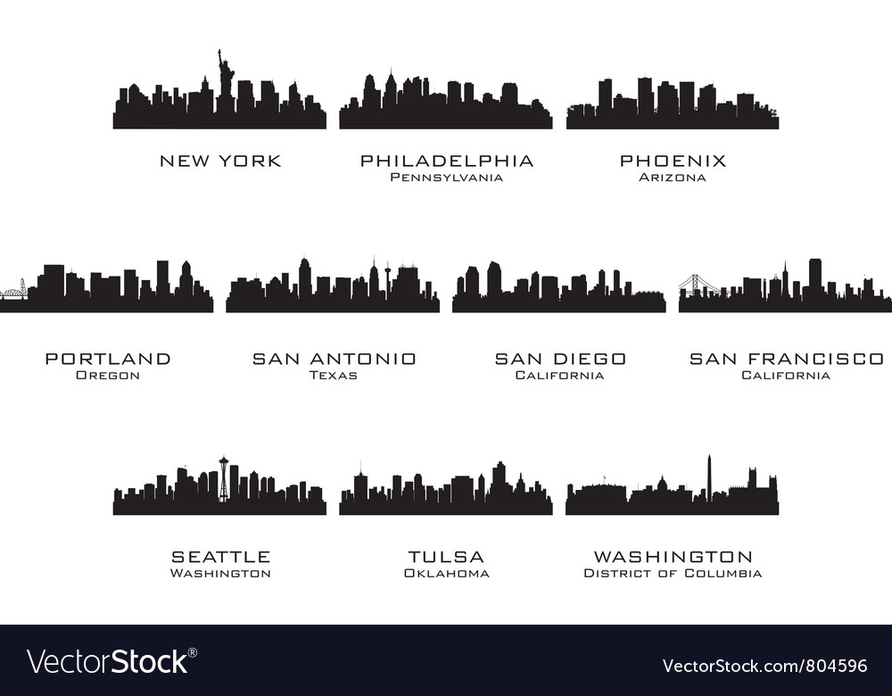 Silhouettes of the usa cities 3 vector | Price: 1 Credit (USD $1)