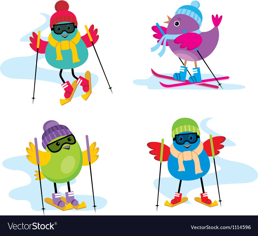 Skiing birds vector | Price: 1 Credit (USD $1)
