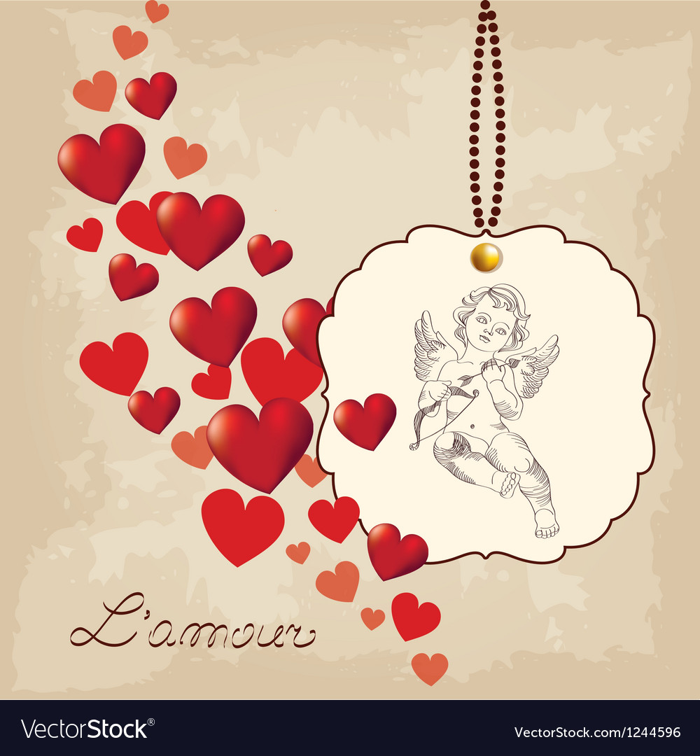 Valentines day amour with hearts vector | Price: 1 Credit (USD $1)
