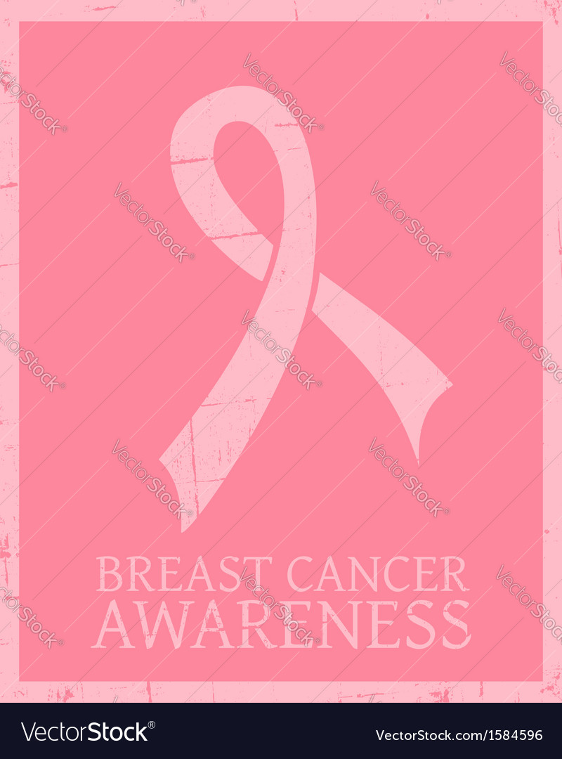 Vintage style breast cancer awareness poster vector | Price: 1 Credit (USD $1)