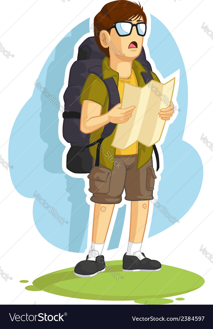 Backpacker boy reading road map vector | Price: 1 Credit (USD $1)