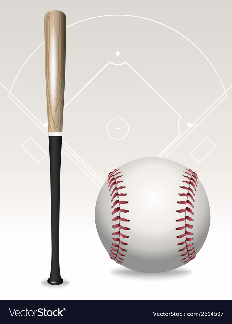 Baseball and bat vector | Price: 1 Credit (USD $1)