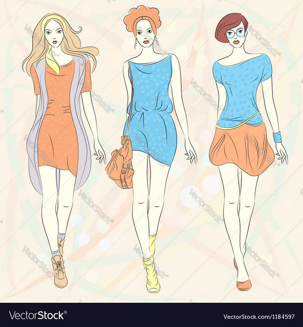 Beautiful fashion girls top models vector | Price: 3 Credit (USD $3)