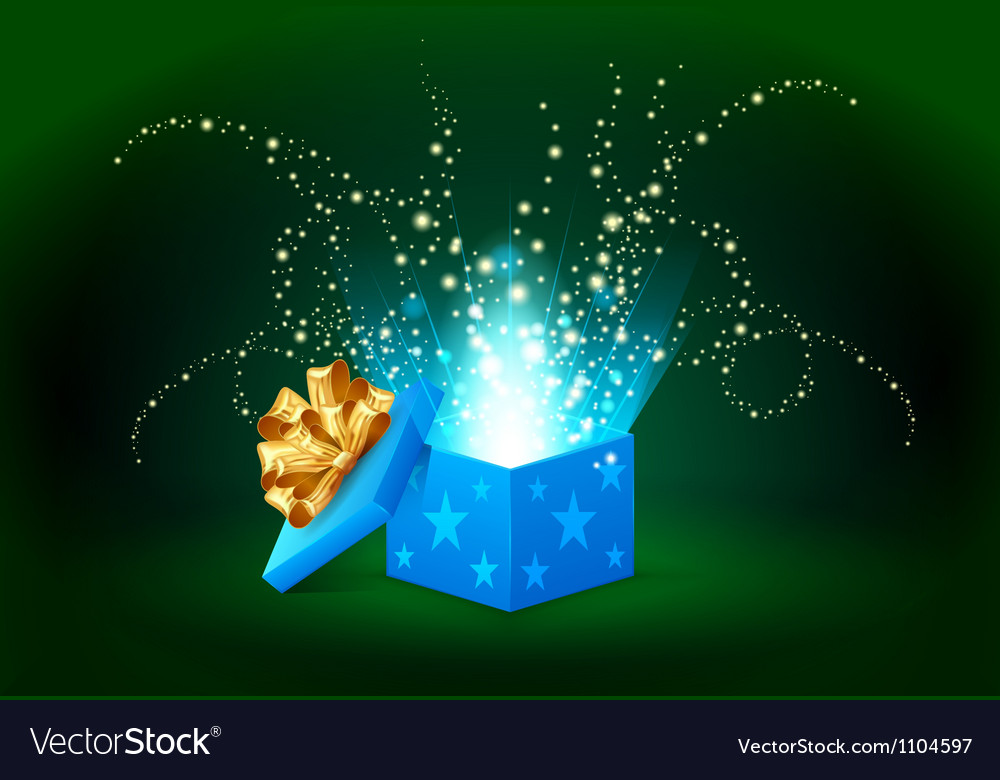 Beautiful magic light shining from a blue gift box vector | Price: 1 Credit (USD $1)
