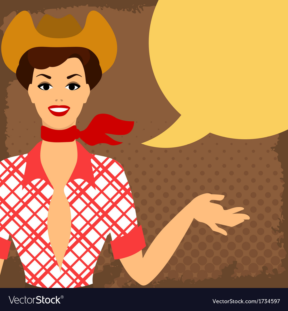 Card with beautiful pin up cowgirl 1950s style vector | Price: 1 Credit (USD $1)