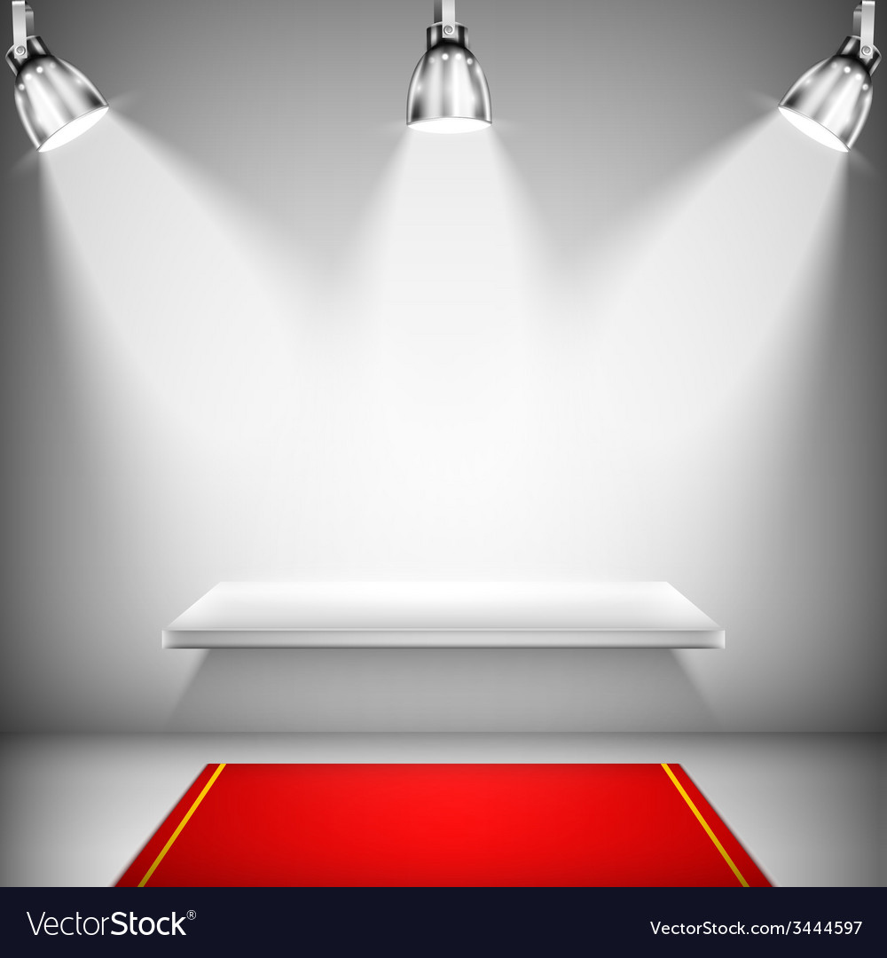 Illuminated shelf with red carpet vector | Price: 1 Credit (USD $1)