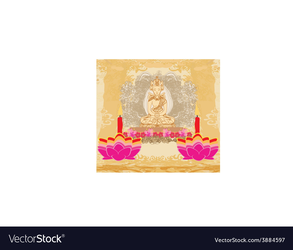 Lotus oil lamp with buddha card vector | Price: 1 Credit (USD $1)