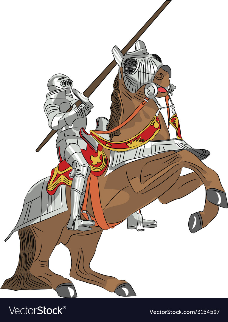Medieval knight in armor on horseback vector | Price: 1 Credit (USD $1)