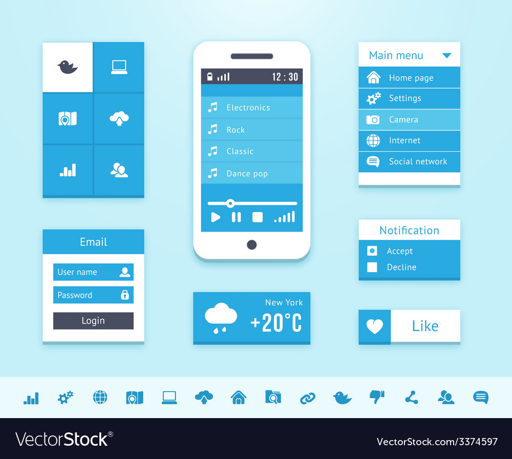 Mobile os ui interface elements vector | Price: 1 Credit (USD $1)