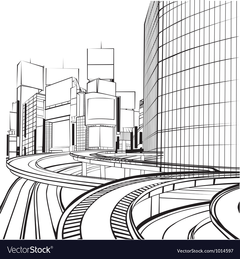 Sketch of the silhouette of the city vector | Price: 1 Credit (USD $1)