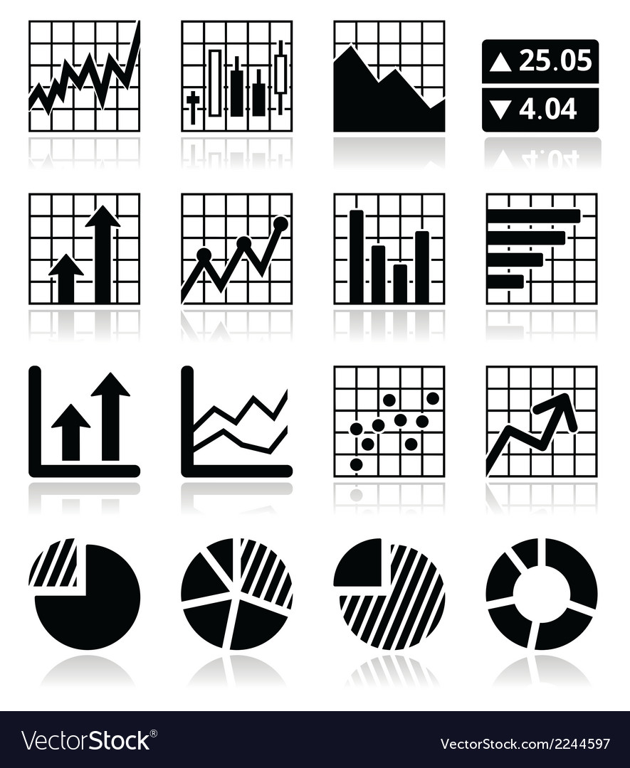 Stock market analysis chart and graph icons set vector | Price: 1 Credit (USD $1)
