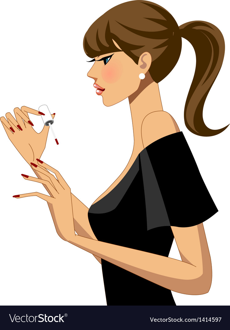 Woman doing her nails vector | Price: 3 Credit (USD $3)