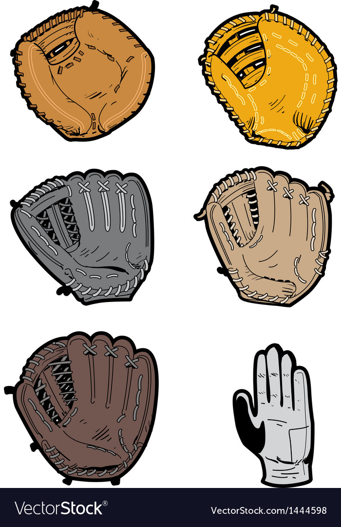 Assorted baseball gloves vector | Price: 1 Credit (USD $1)