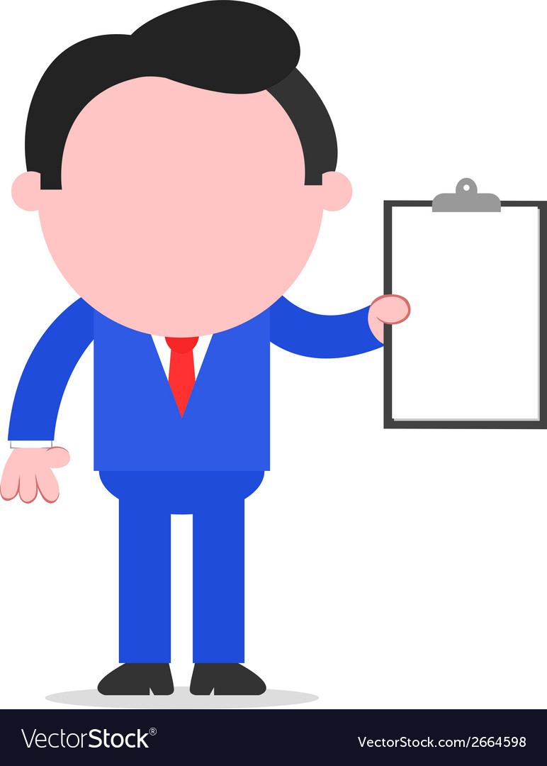 Businessman holding clipboard vector | Price: 1 Credit (USD $1)