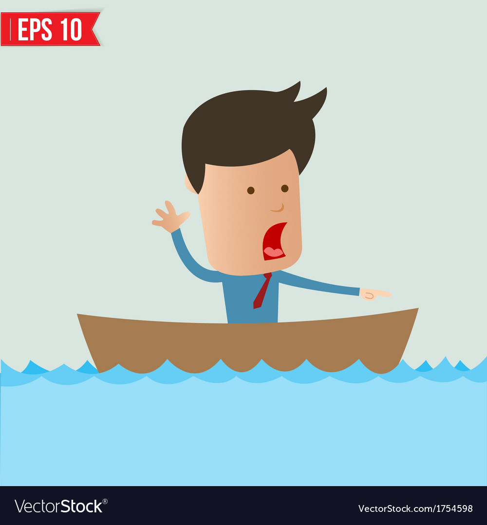Cartoon business man rowing a boat - - eps1 vector | Price: 1 Credit (USD $1)