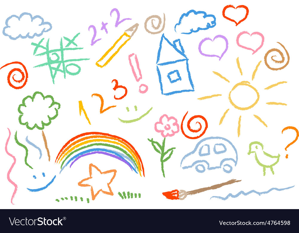 Children drawing multicolored symbols set vector | Price: 1 Credit (USD $1)